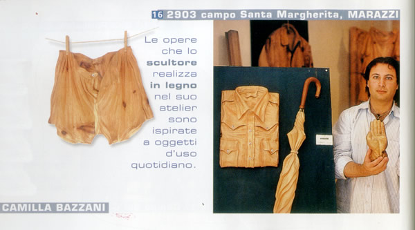 Article about the woodworks of Loris Marazzi, artist and wood sculptor of Modern Art in Venice